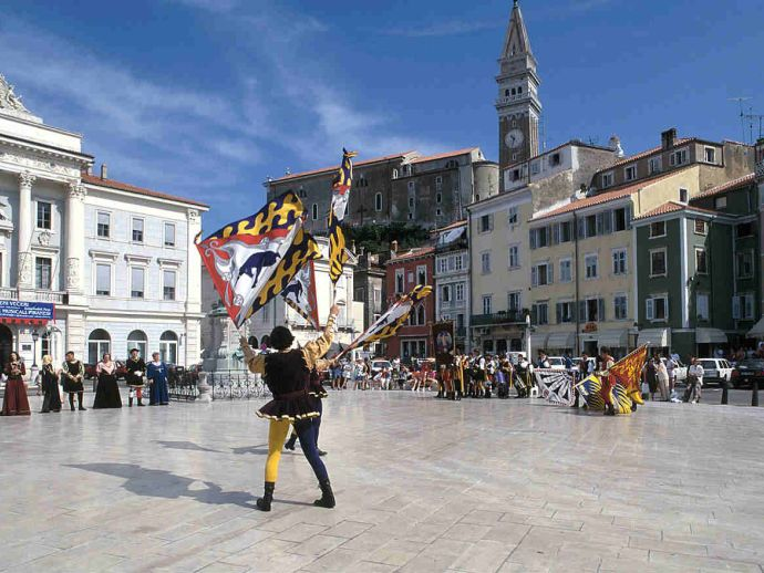 Tartini Square is the largest square and center of Piran